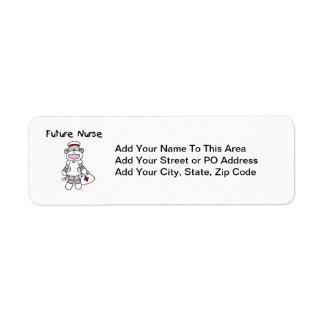 Sock  Monkey Future Nurse T-shirts and Gifts Return Address Label