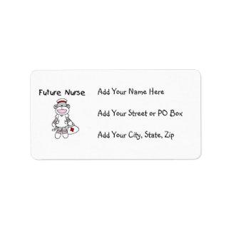 Sock  Monkey Future Nurse T-shirts and Gifts Address Label