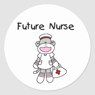 Sock Monkey Future Nurse T-shirts and Gifts Round Sticker