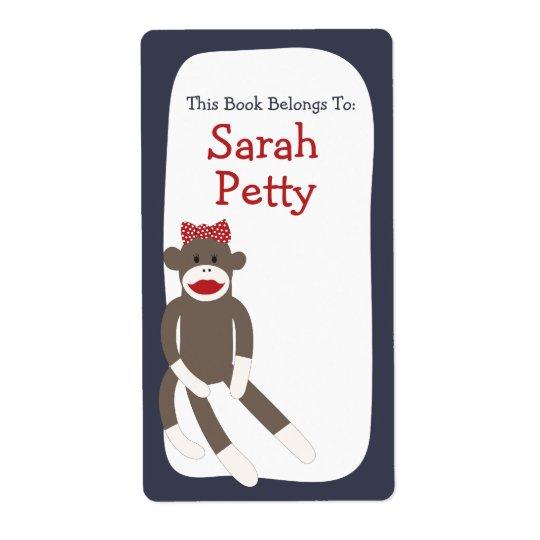 Sock Monkey Girl bookplate