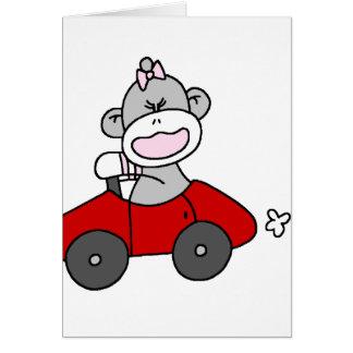 Sock Monkey Girl in Red Car Greeting Card
