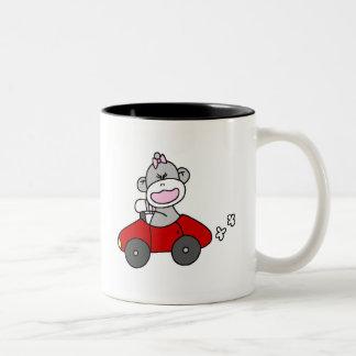 Sock Monkey Girl in Red Car Coffee Mug