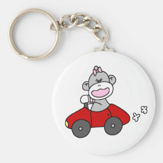 Sock Monkey Girl in Red Car Basic Round Button Key Ring