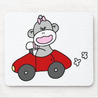 Sock Monkey Girl in Red Car Mouse Mat