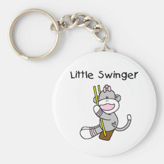 Sock Monkey Girl Little Swinger Basic Round Button Key Ring