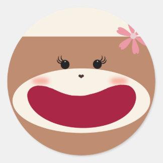 Sock Monkey Girl Sticker