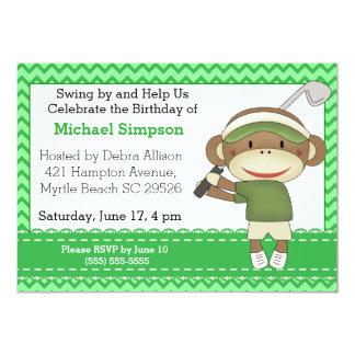 Sock Monkey Golf Birthday Invitations