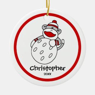 "Sock Monkey Golf Boy""s Christmas Ornament"