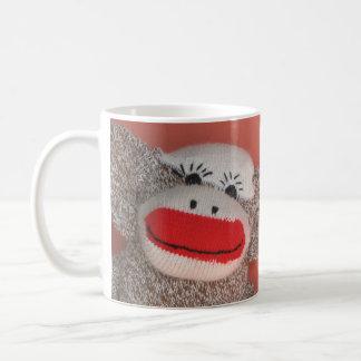 """Sock Monkey """"Good morning!"""" Basic White Mug"""