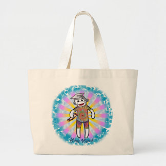 Sock Monkey Graduation Large Tote Bag