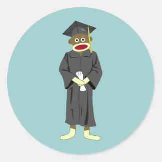 Sock Monkey Graduation Round Sticker