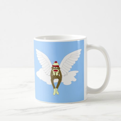 Sock Monkey Guardian Angel Basic White Mug