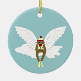 Sock Monkey Guardian Angel Christmas Ornament