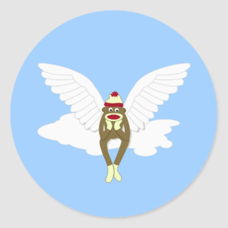 Sock Monkey Guardian Angel Round Sticker