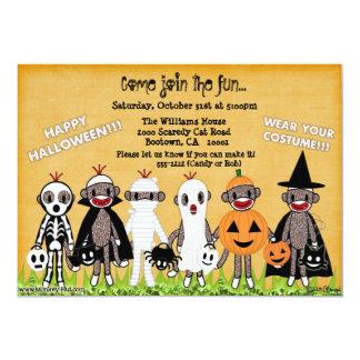 "Sock Monkey Halloween Greeting Card or Invitation 5"" X 7"" Invitation Card"
