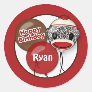 """SOCK MONKEY """"Happy Birthday"""" Round sticker SMR #2"""