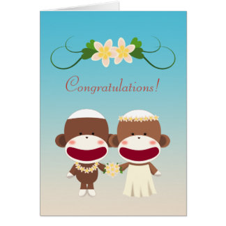 Sock Monkey Hawaiian Wedding Card