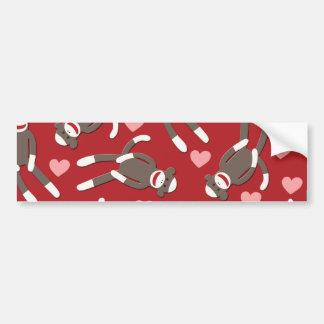 Sock Monkey Hearts Bumper Sticker