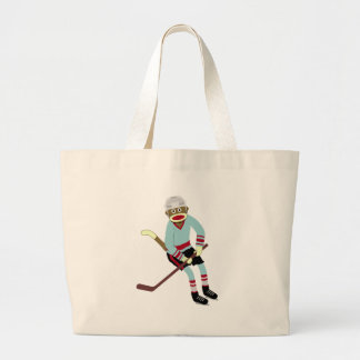 Sock Monkey Hockey Player Large Tote Bag