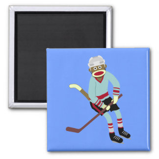 Sock Monkey Hockey Player Magnet