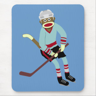 Sock Monkey Hockey Player Mouse Mat