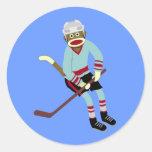 Sock Monkey Hockey Player Round Stickers