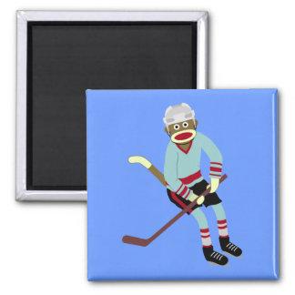 Sock Monkey Hockey Player Square Magnet