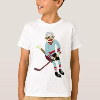 Sock Monkey Hockey Player Tee Shirts