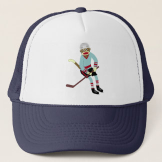 Sock Monkey Hockey Player Trucker Hat