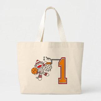 Sock Monkey Hoops 1st Birthday Tote Bags