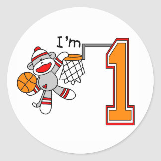 Sock Monkey Hoops 1st Birthday Round Sticker