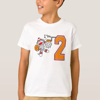 Sock Monkey Hoops 2nd Birthday T-Shirt