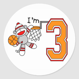 Sock Monkey Hoops 3rd Birthday Stickers