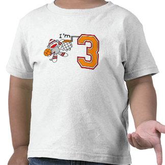 Sock Monkey Hoops 3rd Birthday Tee Shirt