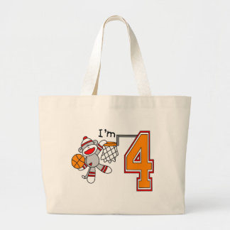 Sock Monkey Hoops 4th Birthday Bags