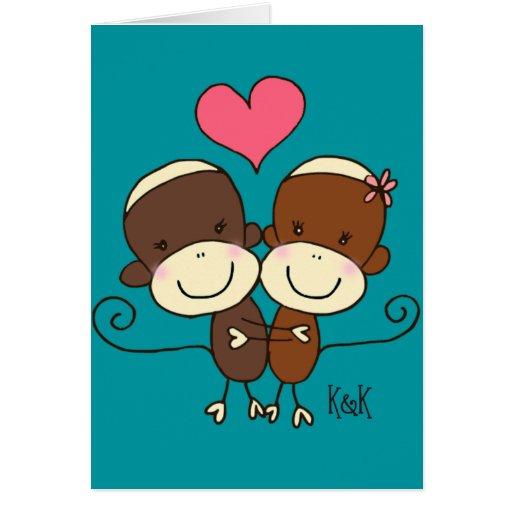 Sock Monkey Hugz Greeting Card