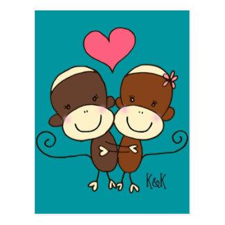 Sock Monkey Hugz Postcard