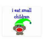 """Sock Monkey """"I EAT SMALL CHILDREN"""" Post Cards"""
