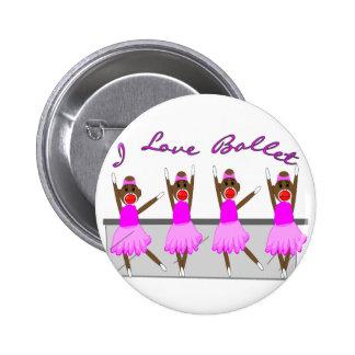 """sock monkey   """"I LOVE BALLET"""" 6 Cm Round Badge"""