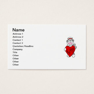 Sock Monkey I Love Nursing T-shirts and Gifts Business Card