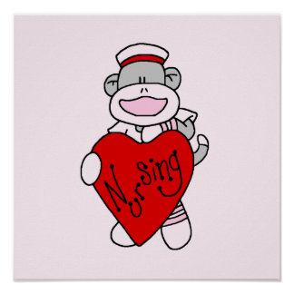 Sock Monkey I Love Nursing T-shirts and Gifts Poster
