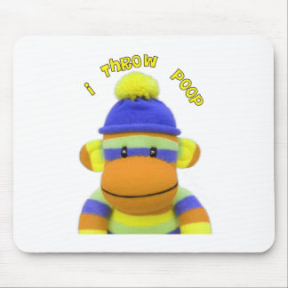 "Sock Monkey ""I Throw Poop"" Design--Adorable Mouse Mat"