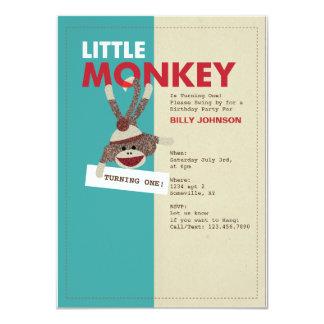 Sock Monkey Invitation-Turning one! Card