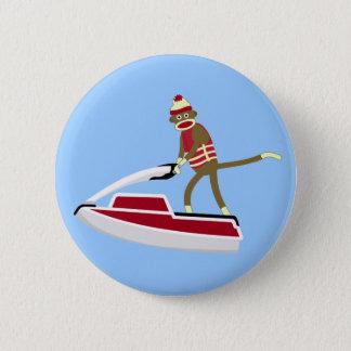 Sock Monkey Jetski 6 Cm Round Badge