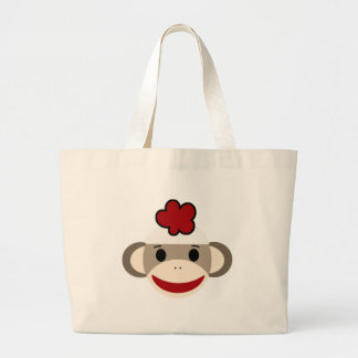 sock monkey large tote bag