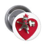 Sock Monkey Love #3 Button
