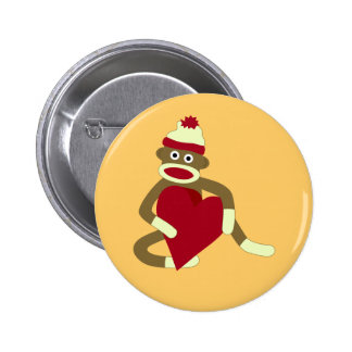 Sock Monkey Love Heart 6 Cm Round Badge