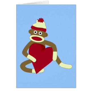 Sock Monkey Love Heart Greeting Card