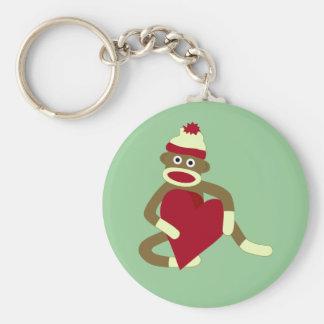 Sock Monkey Love Heart Basic Round Button Key Ring