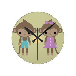 Sock Monkey Love Round Clock